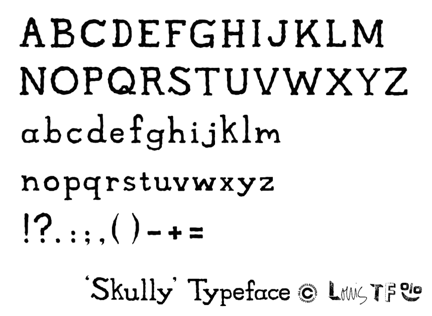 Skully Type Alphabet Copyright