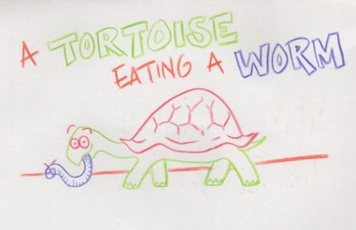 A Tortoise Eating a worm